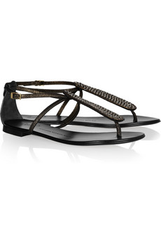 Giuseppe Zanotti crystal embellished metallic leather flats