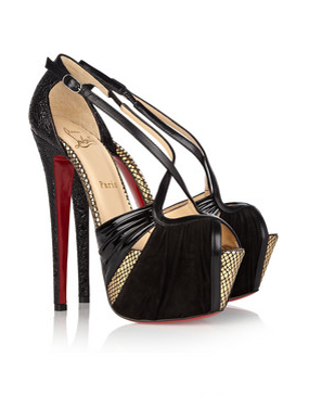 "Christian Louboutin ""Divinoche"" suede & leather sandals"