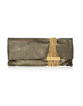 Jimmy Choo chain embellished suede clutch